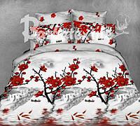 3D постельное белья полуторное Ранфорс красные цветы