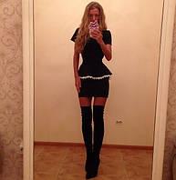 Классичекое черное платье с баской