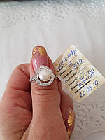 Срібна каблучка з перлиною та фіанітами, фото 1
