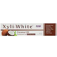 Зубная паста - гель кокосовое масло со вкусом мяты  БЕЗ ФТОРА Now Foods Xyli White, 181g