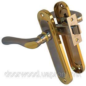 Pучка на планке 910K6 мат никель/золото ф/з + защелка BRUNO 245 6-45 никелир