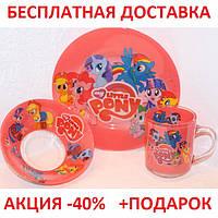 Набор стеклянной детской посуды с иллюстрациями из мультфильмов  3 предмета