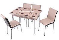"""Комплект обеденной мебели """"Cappucino"""" (стол ДСП, каленное стекло + 4 стула) Mobilgen, Турция"""