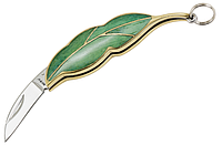 Нож складной,брелок,листообразной формы, зелёного цвета с золотистым ободком, материал рукояти-пластик, латунь