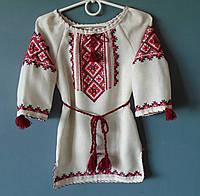 Вишите плаття  для дівчинки 1-3 років на сірому льоні