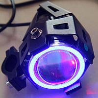 U7 Универсальные светодиодные мото фары прожекторы для мотоцикла квадроцикла LED 12В Devil Eyes + кнопка Синие