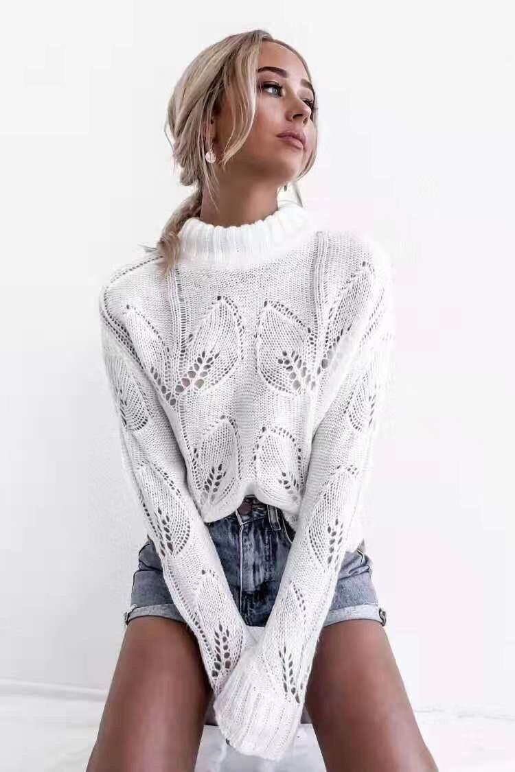 Белый вязаный свитер с узорами и длинными рукавами 68ddet566