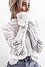 Белый вязаный свитер с узорами и длинными рукавами 68ddet566, фото 2