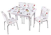 """Комплект обеденной мебели """"Latte"""" (стол ДСП, каленное стекло + 4 стула) Mobilgen, Турция"""