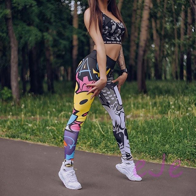 Женские лосины для спорта из принтованного яркого бифлекса 78spt727