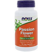 """Страстоцвет NOW Foods """"Passion Flower"""" 350 мг, успокаивающее действие (90 капсул)"""