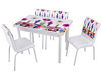 """Комплект обеденной мебели """"Papatya"""" (стол ДСП, хром, каленное стекло + 4 стула) Mobilgen, Турция"""