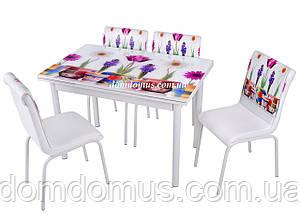 """Комплект обідній меблів """"Papatya"""" (стіл ДСП, хром, гартоване скло + 4 стільця) Mobilgen, Туреччина"""