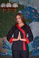 Женский китель для повара черного цвета с красным кантом