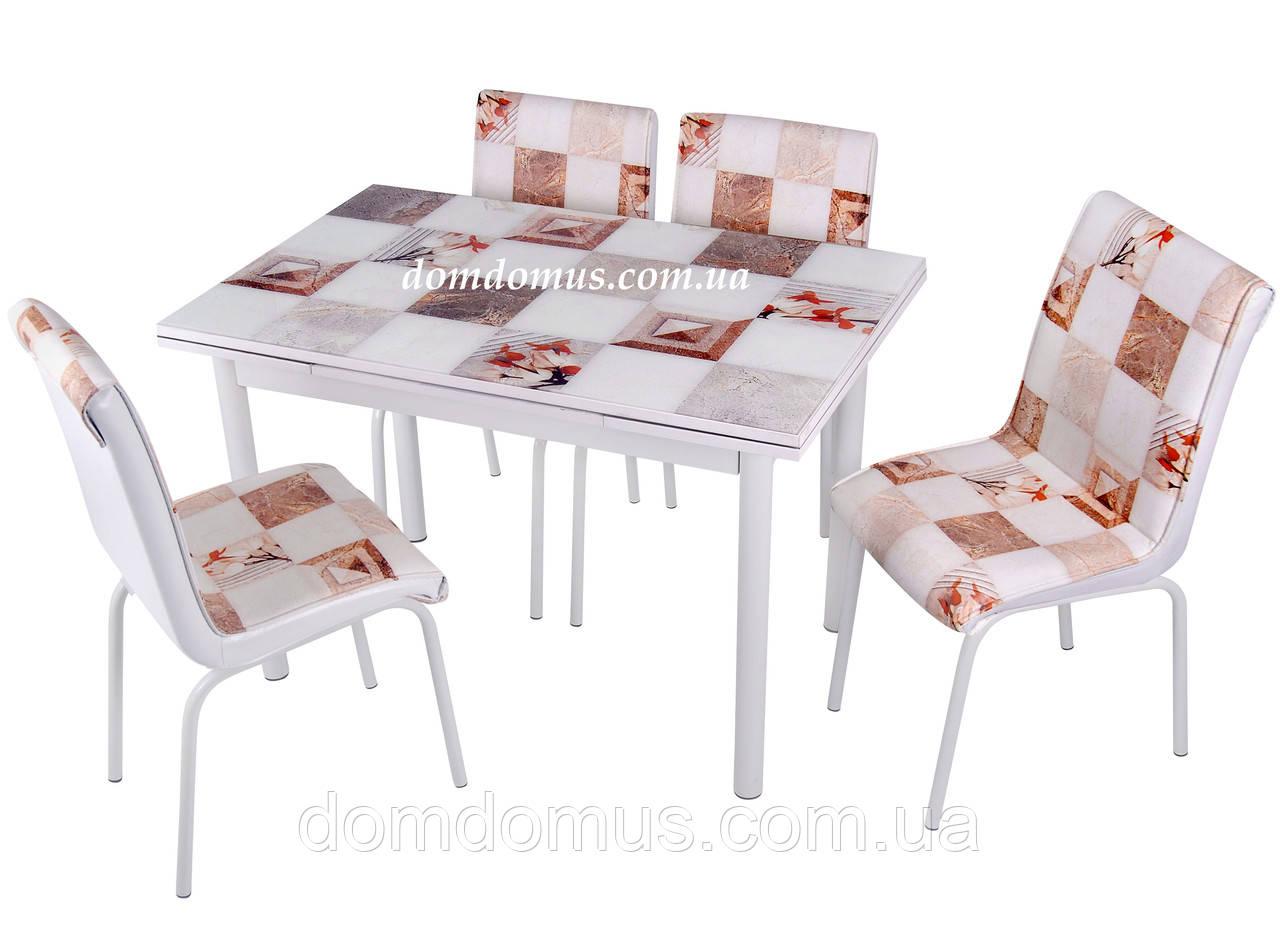"""Комплект обеденной мебели """"Mermer"""" (стол ДСП, каленное стекло + 4 стула) Mobilgen, Турция"""