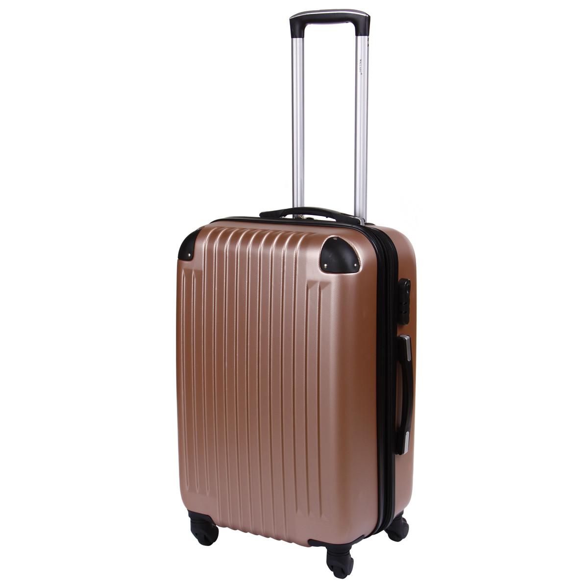 Чемодан Wallaby средний пластиковый  ABS  57(+6)х39х27(+3) розовый цвет  в 6265-22роз