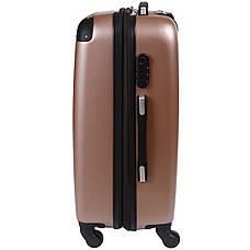 Валіза Wallaby середній пластиковий ABS 57(+6)х39х27(+3) сріблясто-рожевий в 6265-22роз, фото 2