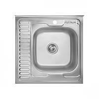 Кухонная стальная мойка Platinum 6060 R Satin 0,6мм правая матовая