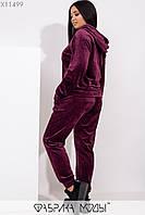 Женский велюровый костюм в больших размерах с капюшоном и манжетами 1blr217