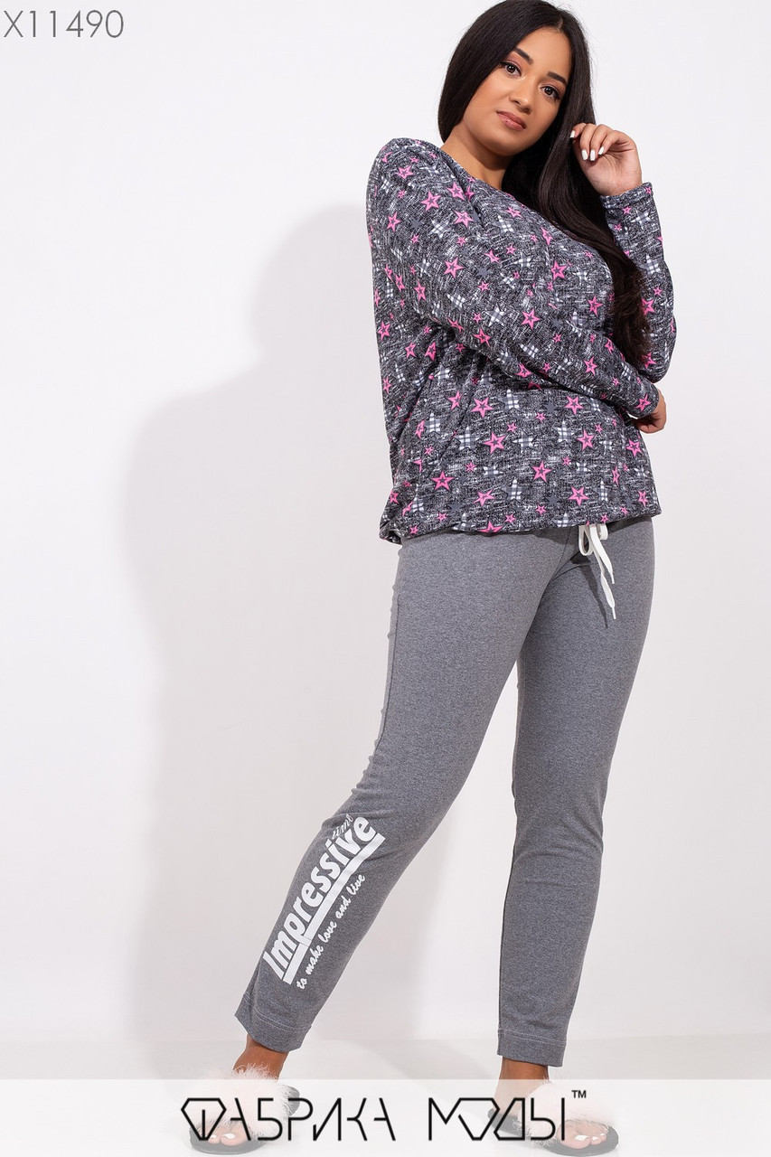 Женский спортивный костюм в больших размерах с принтованной кофтой и зауженными штанами 1blr225