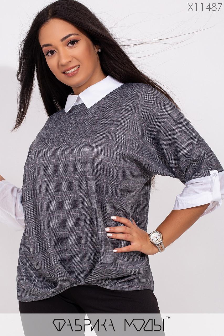 Трикотажная женская блуза в больших размерах с имитацией двойки 1blr227