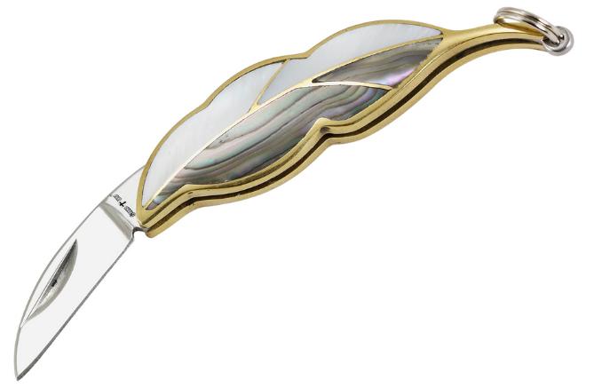 Нож складной в форме листка, серебристо-золотистого цвета, рукоять с натуральной перламутровой ракушки