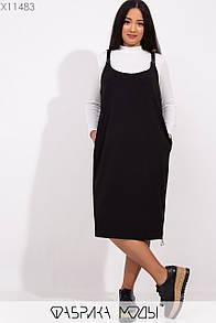 Женский черный сарафан в больших размерах прямого кроя 1blr230