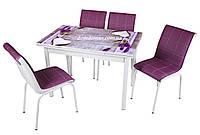 """Комплект обеденной мебели """"Vazo"""" (стол ДСП, каленное стекло + 4 стула) Mobilgen, Турция"""
