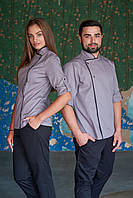 Китель поварской серого цвета, униформа для повара, индивидуальный пошив, все размеры