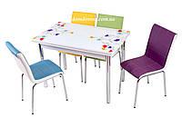 """Комплект обеденной мебели """"Lale"""" (стол ДСП, каленное стекло + 4 стула) Mobilgen, Турция"""