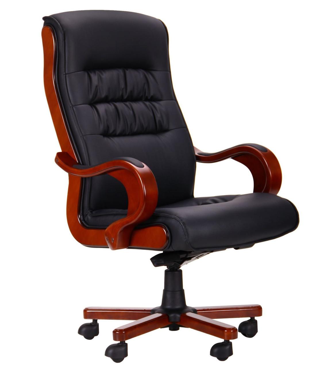 Кресло руководителя Президент, кожзам черный, TM AMF