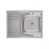 Кухонная мойка накладная Platinum 8060 R Satin 0,6мм матовая