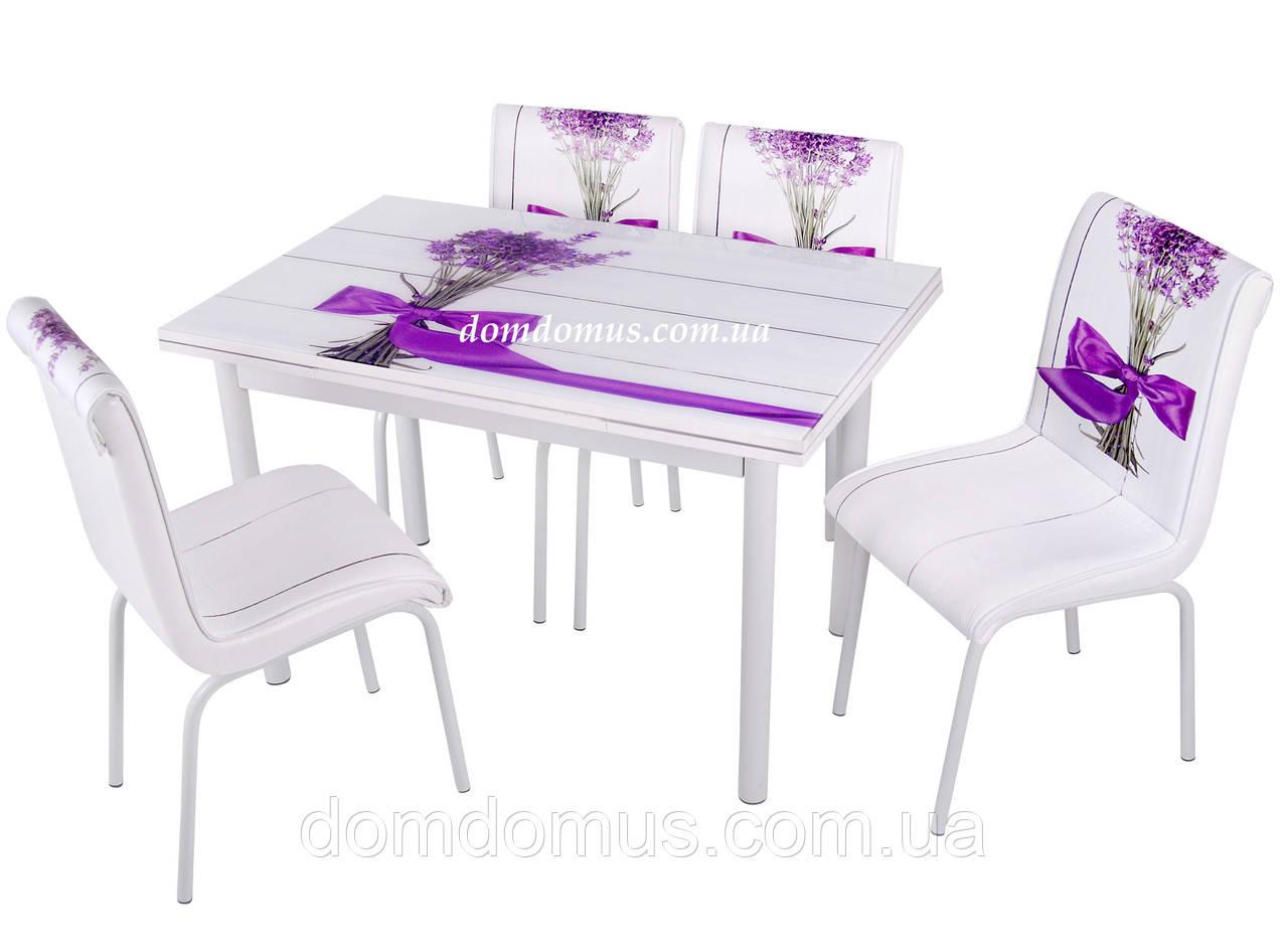 """Комплект обідній меблів """"Feslegen"""" (стіл ДСП, гартоване скло + 4 стільця) Mobilgen, Туреччина"""