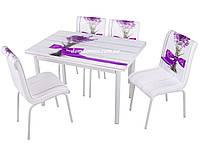 """Комплект обеденной мебели """"Feslegen"""" (стол ДСП, каленное стекло + 4 стула) Mobilgen, Турция"""