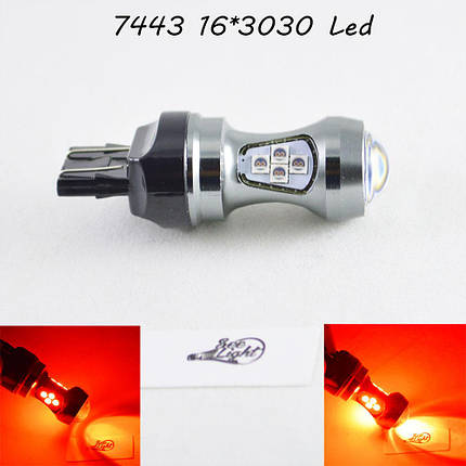 Светодиодная автомобильная лампа SLP LED с цоколем T20(7443)(W21W/5W) 16-3030 80W 9-30V Красный, фото 2