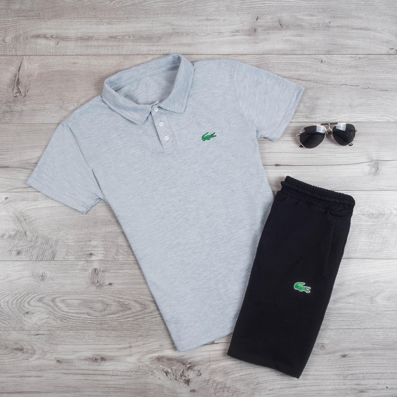 Модная летняя футболка поло лого Lacoste светло-серая (реплика)