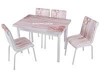 """Комплект обеденной мебели """"Dantel"""" (стол ДСП, каленное стекло + 4 стула) Mobilgen, Турция"""
