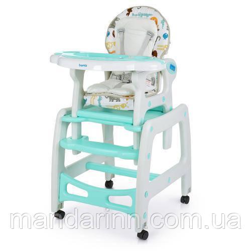 Детский стульчик для кормления с качалкой M 1563 ANIMAL MINT