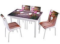 """Комплект обеденной мебели """"Ahsah Lale """" (стол ДСП, каленное стекло + 4 стула) Mobilgen, Турция"""