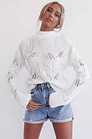 Белый вязаный свитер с узорами и длинными рукавами 68dmde566, фото 1