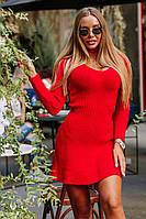 Короткое облегающее платье машинной вязки с U-вырезом 18mpl135, фото 1