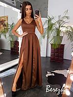 Длинное шелковое платье на бретельках с разрезами на юбке 66mpl140Q, фото 1