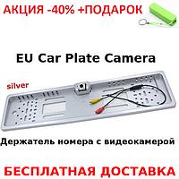 Универсальная рамка для номера с камерой заднего хода EU Car Plate Camera 4 LED Black Original size+Повер банк