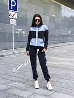 Утепленный флисом спортивный костюм женский с худи и штанами на манжетах 7msp722, фото 1