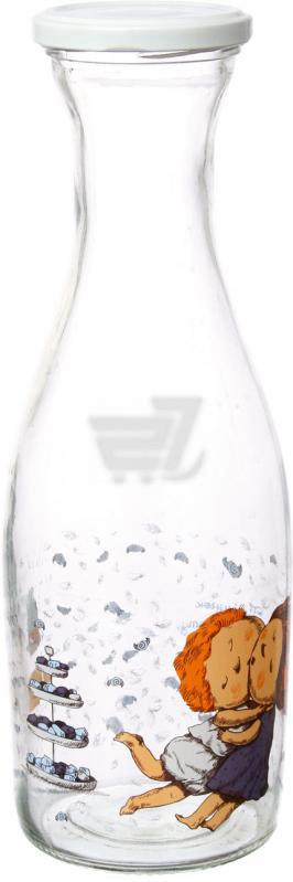 Декорированная бутылка 1 л стеклянная для компота, сока и молока Gapchinska Зефир Everglass