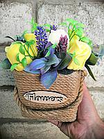 Мильний букет KupuiDarui в оригінальному кашпо Ручна робота Жовті троянди 950 г (000601)