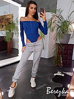 Женский спортивный костюм с боди и штанами джоггерами 66msp736Е, фото 1