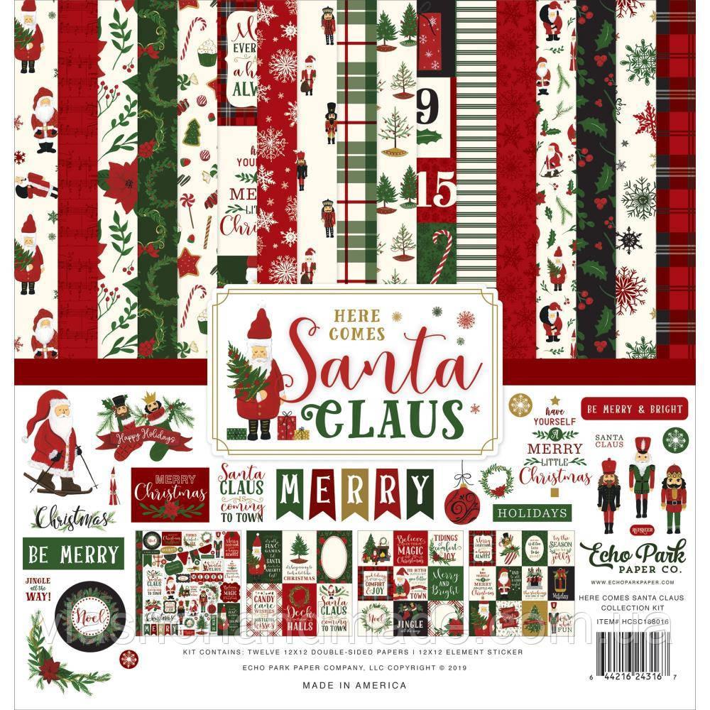 Набір двостороннього паперу - Here Comes Santa Claus - Echo Park - 30x30