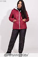 Женский зимний костюм на синтепоне в больших размерах с курткой на молнии 1mbr218, фото 1