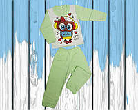 "Детская теплая пижама ""Сова"", футер, р.26-34"